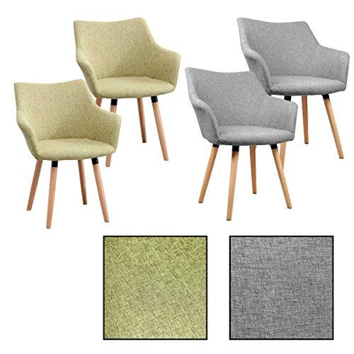 2/4/6/8x Retro - Esszimmerstuhl Tomke, Stühle, Stuhl, Küchenstuhl, Esszimmerstühle, Grau, Grün (2 Stück, Grün)