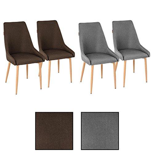 4X Retro Esszimmerstühle Stoffbezug Braun Küchenstühle Stühle Esszimmer