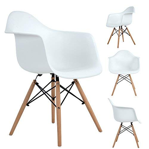 Ajie Retro Stuhl, weiße Sitzschale mit Armlehnen auf massiven Holzbeinen, Verschiedene Stückmengen