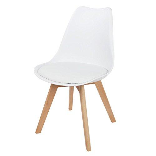 Buri Schalenstuhl Weiß Esszimmerstuhl Gepolstert Retro Sessel Küchenstuhl Schalensitz