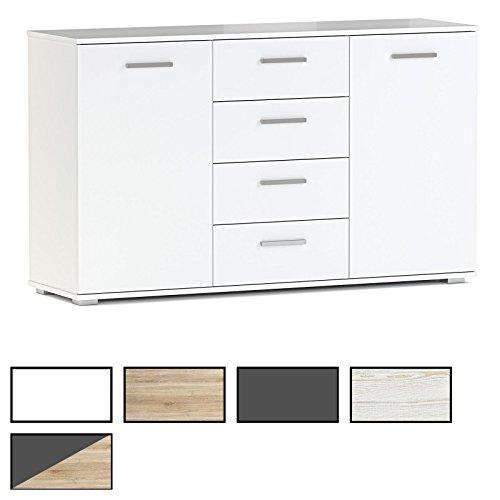 CARO-Möbel Kommode Sideboard Highboard Chicago in Verschiedenen Farben mit 2 Türen und 4 Schubladen