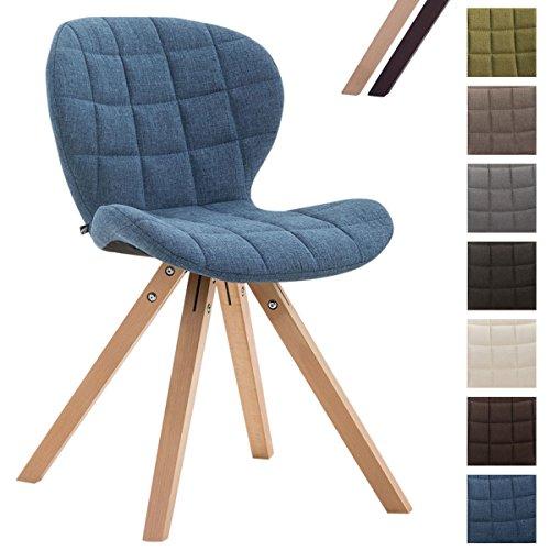 CLP Design Retrostuhl Alyssa mit Hochwertiger Polsterung und Stoffbezug | Esszimmerstuhl mit eckigen Holzbeinen aus Buchenholz | In Verschiedenen Farben erhältlich Blau, Gestellfarbe: Natura