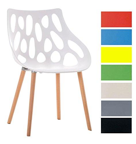 CLP Retrostuhl Hailey mit Pflegeleichter Kunststoff-Sitzschale und Einer Sitzhöhe von: 44 cm I Esszimmerstuhl mit Lehne und Buchenholzgestell I In Verschiedenen Farben erhältlich Weiß