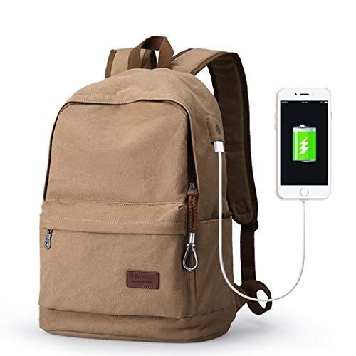 CXQ Mode-Trend Männer und Frauen einfache Hellbraun Leinwand Rucksack Freizeit Reiserucksack Schüler Tasche USB-Lade-Schnittstelle Rucksack