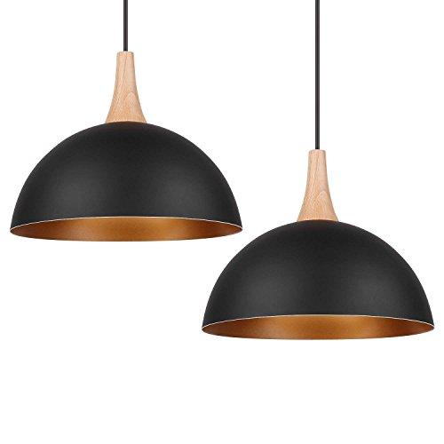 DECKEY Designklassiker 2x Pendelleuchte Hängeleuchte nordischer/skandinavischer Still Φ 30cm für E27 Leuchtmittel, schwarz für Wohnzimmer Esszimmer Restaurant Keller Untergeschoss usw.
