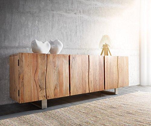 DELIFE Kommode Live-Edge Akazie Natur 220 cm 6 Türen Massivholz Baumkante Sideboard