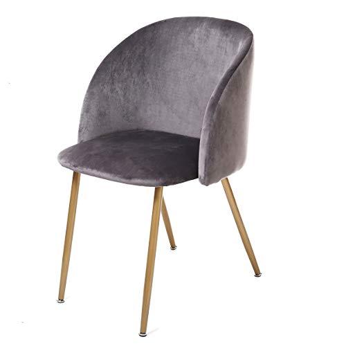 DORAFAIR 1er Set Vintager Retro Stuhl Sessel Polstersessel Lounge Stuhl,Esszimmerstuhl Samt weich Kissen Sitz und Rücken mit Metall Gold Beine, Grau