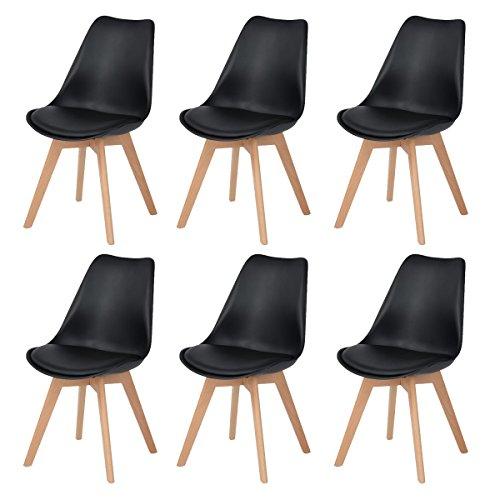 DORAFAIR 6er Skandinavischen Retro Design Gepolsterter PP Esszimmerstühle Stuhl Küchenstuhl,mit Massivholz Buche Bein,Schwarz