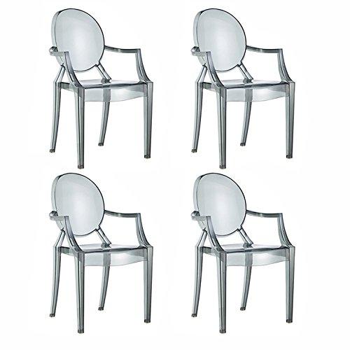 Damiwae Spirit Esszimmer Stühle mit Armlehnen, Rauch, 54x 55x 94cm