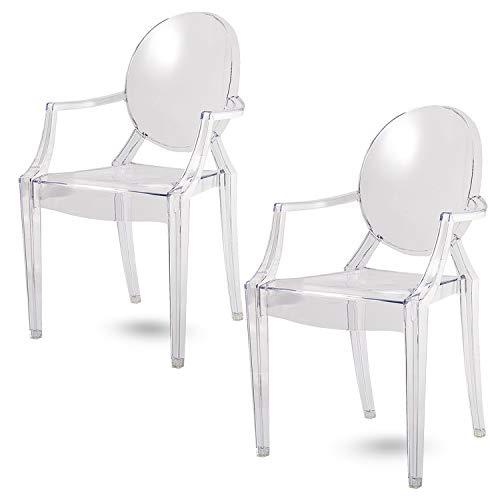 Damiware Spirit Eszzimmerstühle 2er Set   Design Stuhl mit Armlehnen   Transparent Hochwertig Verarbeitung - Komfortables Sitzen (Transparent)