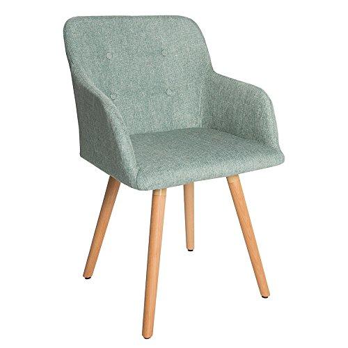 Design Stuhl lime SCANDINAVIA MEISTERSTÜCK Buche Gestell mint grün mit Armlehne im Retro Trend Esszimmerstuhl Esszimmer