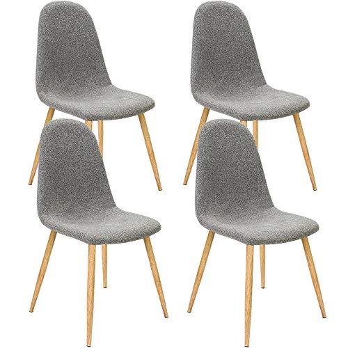 Deuba 4X Esszimmerstühle Design Stuhl Küchenstuhl ergonomisch Geformte Sitzschale 120kg Belastbarkeit Stuhlbeine mit Naturholzoptik dunkelgrau