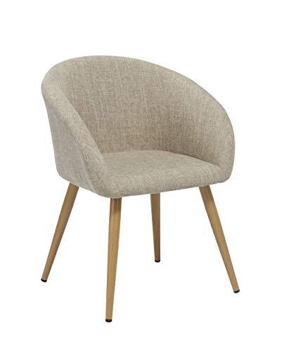 Duhome Elegant Lifestyle Esszimmerstuhl aus Stoff (Leinen) Creme Retro Design Stuhl mit Rückenlehne Beige Metallbeine Holzoptik DH0007