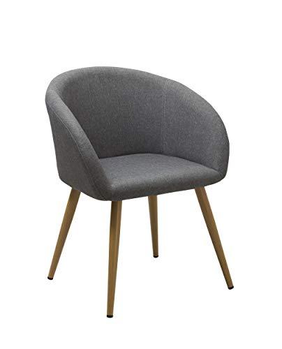 Duhome Elegant Lifestyle Esszimmerstuhl aus Stoff (Leinen) Grau Farbauswahl Retro Design Stuhl mit Rückenlehne Metallbeine Holzoptik WY-8023
