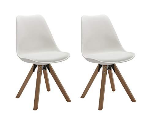Duhome Elegant Lifestyle Stuhl Esszimmerstühle Küchenstühle !2 er Set! in Weiss Küchenstuhl mit Holzbeine Sitzkissen TYP9-518M Esszimmerstuhl Retro Küchenstuhl Farbauswahl