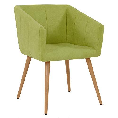 Duhome Esszimmerstuhl aus Stoff Grün Farbauswahl Retro Design Stuhl mit Rückenlehne Sessel Metallbeine 8065