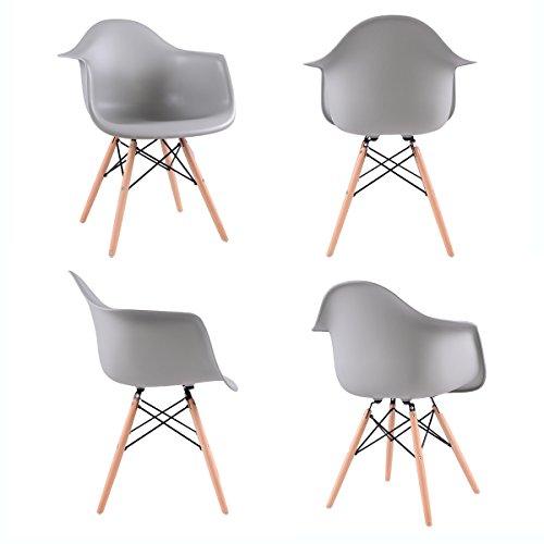 EGGREE Lot von 4 Esszimmerstuhl, Retro Stuhl Beistelltisch mit solide Buchenholz Bein - Grau