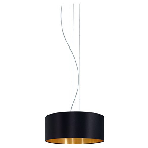 EGLO 31605 Hängeleuchte Maserlo Durchmesser 53 cm Nickel-Matt Schirm, schwarz/gold stahl
