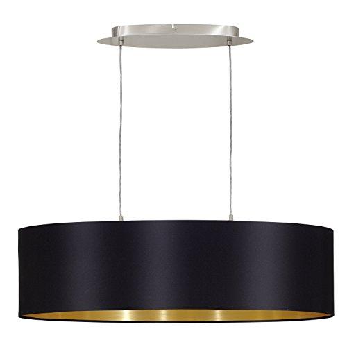 EGLO 31611 Hängeleuchte Maserlo Nickel-Matt Schirm, schwarz/gold stahl, 78 cm