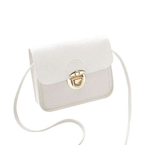Embossing Flap Messenger Bag HARRYSTORE Mode Damen Solid Cover Umhängetasche Schultertasche Münztüte Handytasche (Weiß)
