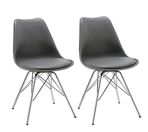 Esszimmerstuhl 2er Set Küchenstuhl Kunststoff mit Sitzkissen Stuhl Vintage Design Retro Farbauswahl 518J (Grau)
