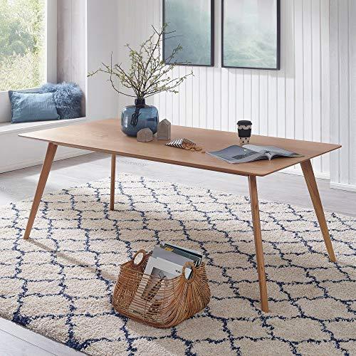 FineBuy Esszimmertisch 120 x 76 x 80 cm aus MDF Holz | Esstisch mit quadratischer Tischplatte | Robuster Küchen-Tisch im Retro Stil | Holz-Tisch in skandinavischem Design | Tisch in Eichenfurnier