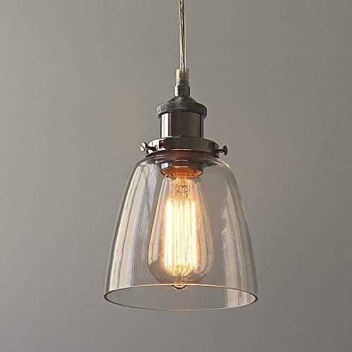 Glas Pendelleuchte, Tomshine Vintage Industrial Deckenleuchte Loft-Pendelleuchte Klar Glas Pendelleuchte Hängeleuchte für Küche Esszimmer Wohnzimmer