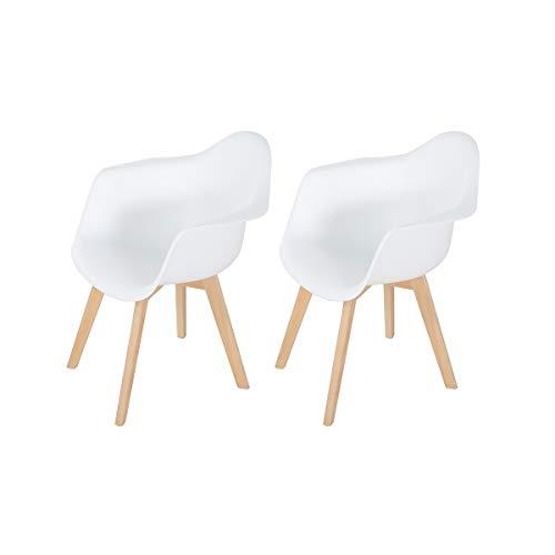 H.J WeDoo Lot von 2 Esszimmerstuhl, Retro Stuhl Beistelltisch mit solide Buchenholz Bein - Weiß