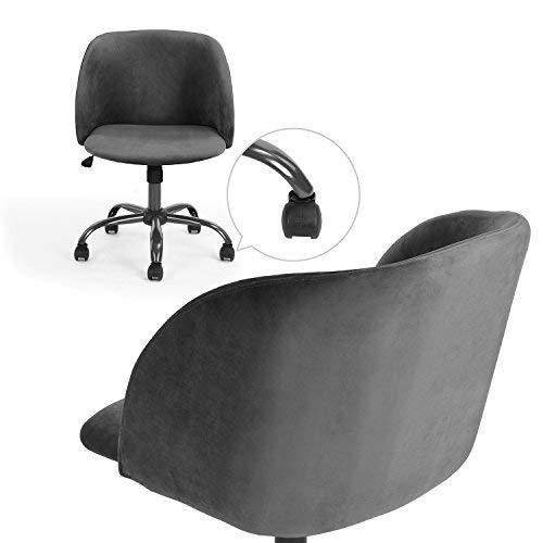 Innovareds höhenverstellbarer Bürodrehstuhl aus Samt, Schreibtischstuhl, Esszimmerstuhl, mit Rücken- und Armlehne, Grau