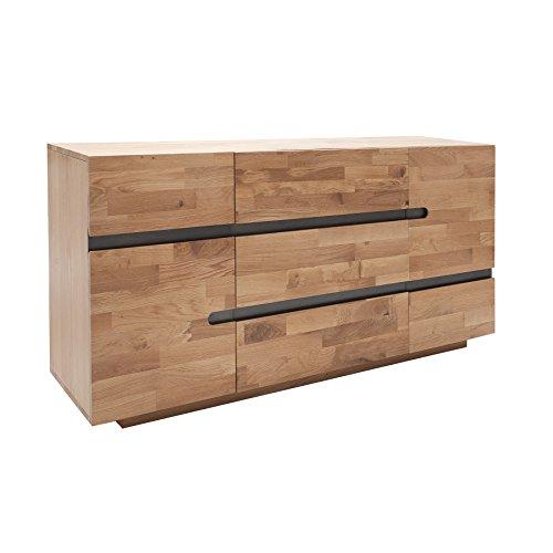 Invicta Interior Massives Sideboard WOTAN 170cm Eiche Massivholz geölt Holz Kommode Wohnzimmerschrank Anrichte Schrank