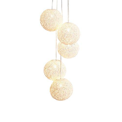 Invicta Interior Stylische Hängeleuchte COCOON PEARLS 140cm weiß Hängelampe mit 5 Leucht Kugeln
