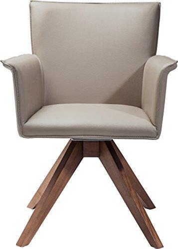 Kare Design Drehstuhl Foxy, bequemer, moderner Esszimmerstuhl, Polsterstuhl mit Armlehnen im Retro-Design, Beige-Braun (H/B/T) 88x65x65cm