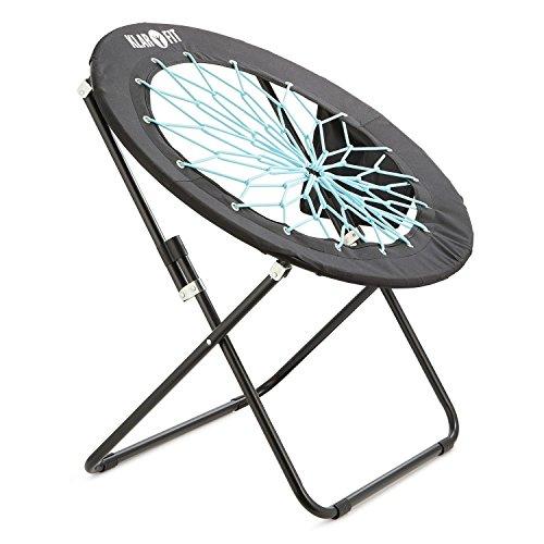 Klarfit Bounco Bungee Chair Stuhl Klappstuhl (aus strapazierfähigen Bungee-Seilen, 81 x 41 x 85 cm, Faltbar, platzsparend, rund, bis max. 100 kg belastbar) schwarz-blau