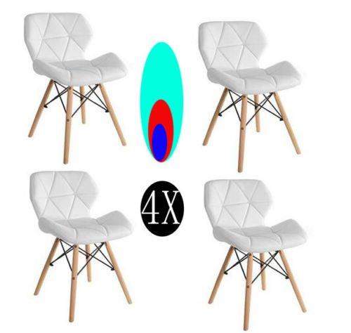 KunstDesign 4er Set Cecilia Eiffel Millmead inspiriert Stuhl PU Retro Weiß Esszimmerstuhl Bürostuhl Lounge, Schmetterling Typ Rückenlehne Esszimmerstuhl (es ist mehr Anzug für Kinder)