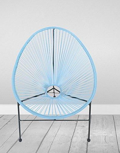 Loungesessel Gio 71x79x86cm Kunststoff Metallstuhl Retro Stuhl Gartenstuhl, Farbe:hellblau
