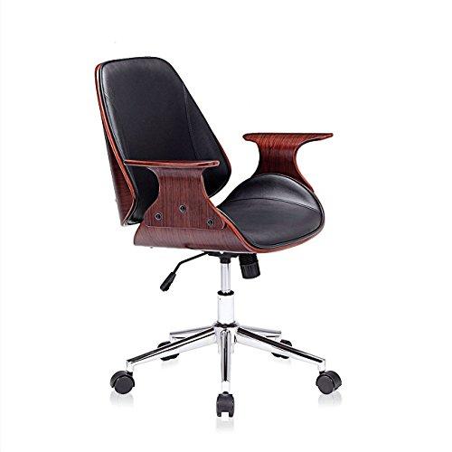 MY SIT Design Stuhl Retro Drehstuhl Bürostuhl Vintage Antik Kunstleder Drehhocker Wohnzimmerstuhl Esszimmerstuhl Drehsessel Höhenverstellbar - Sadie in Schwarz/Braun