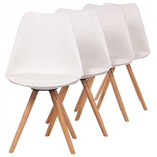 Makika Retro Stuhl Design Stuhl Esszimmerstühle Bürostuhl Wohnzimmerstühle Lounge Küchenstuhl Sitzgruppe 4er Set aus Kunststoff mit Rückenlehne MOOL in Weiß