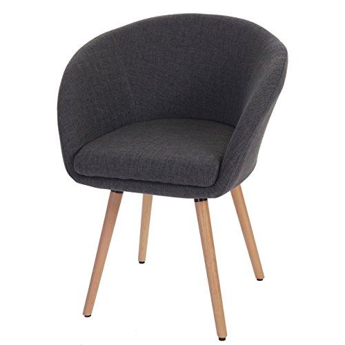 Mendler Esszimmerstuhl Malmö T633, Stuhl Lehnstuhl, Retro 50er Jahre Design ~ Textil, grau