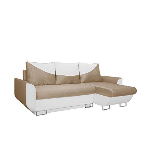 Mirjan24  Ecksofa Sabello! Couch Sofa! Eckcouch mit Schlaffunktion und Bettkasten! Ottomane Universal,Farbauswahl, L-Form Couch Schlafsofa Bettsofa (Soft 017 + Platinum 26)