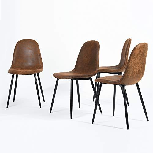 Navy Blue Furniture n.b.f Set aus 4Stühlen skandinavischen Braun Esszimmer Stühle Vintage-Küche in Suede Leder Braun