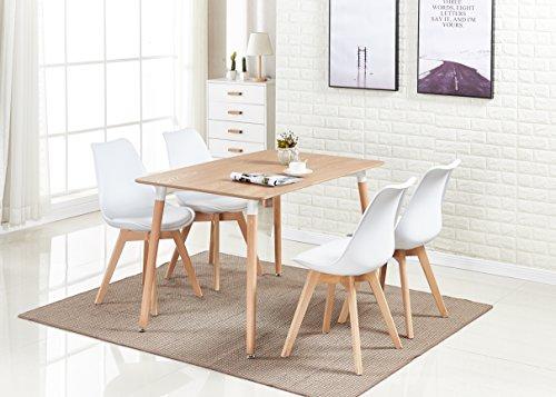 P & N Homewares Lorenzo Esstisch und 4 Stühle Set Retro und modernes Skandinavisches Esszimmer Set Weiß Schwarz Grau Rot Pink Grün mit Holz braun Esstisch weiß