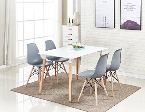 P & N Homewares®, Romano Moda Esstisch-Set mit Retro-inspiriertem Stuhl und Tisch, Farbe weiß oder grau, mit modernem Esstisch-Set grau