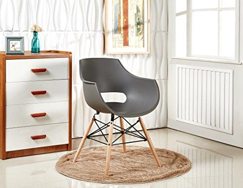 P & N Homewares Stuhl im Retro-Stil nach Olivia Eiffel, Kunststoff, Stuhl für Esszimmer, Büro, Besprechungsraum, in lebendigen Farben grau