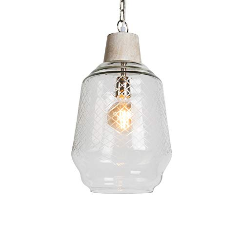 QAZQA Landhaus/Vintage / Rustikal Pendelleuchte/Pendellampe / Hängelampe/Lampe / Leuchte Aribam klares Glas/Innenbeleuchtung / Wohnzimmer/Schlafzimmer / Küche/Holz / Rund LED geeignet E27