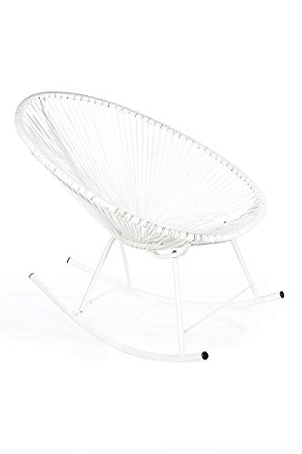 Retro Acapulco Lounge Relax Schaukelstuhl Rocking Chair Indoor Outdoor All White