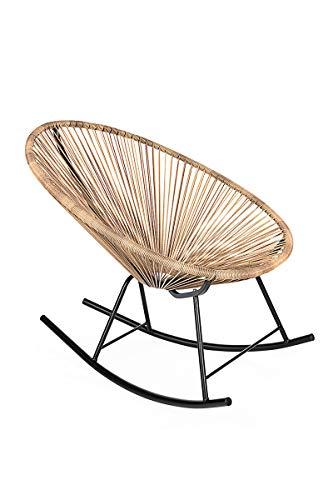 Retro Acapulco Lounge Relax Schaukelstuhl Rocking Chair Rahmen & Füße Pulverbeschichtet Indoor & Outdoor Natur Braun