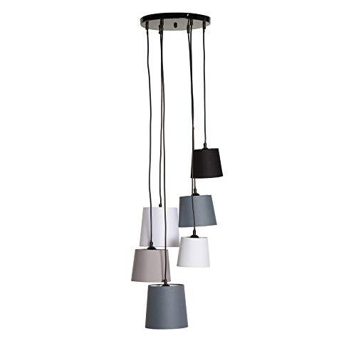 Riess Ambiente Moderne Hängeleuchte Levels IV mit 6 Leinen Schirmen Deckenlampe Pendelleuchte Leinenstoff
