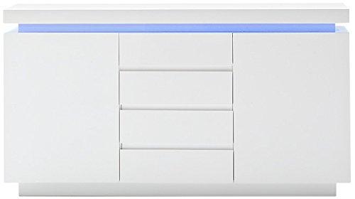 Robas Lund Sideboard Kommode Ocean Hochglanz weiß LED Beleuchtung mit Farbwechsel inkl. Fernbedienung