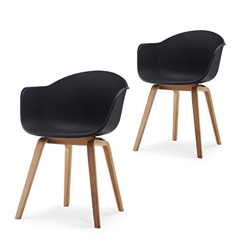 Romeo Wohnzimmerstuhl Esszimmerstuhl 2er-Set Schwarz Polypropylen und Buchenholz Retro Design Stuhl für Büro Lounge Küche Wohnzimmergrey (Schwarz)