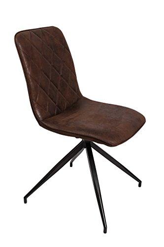 SAM® Esszimmerstuhl Erica, drehbar, Stoffbezug in Braun, schwarz lackierte Beine aus Metall, bequeme Polsterung, pflegeleichter Design-Stuhl